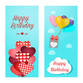 Set of vertical banners. Birthday greeting with ballon, shape of heart. — Stock vektor