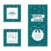 Set of flat design Christmas and New Year greeting card templates - stock vector — Stock Vector
