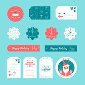 Set of flat design Christmas and New Year gift tags — Cтоковый вектор