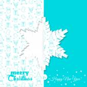 Background with Christmas symbol pattern. Christmas and New Year greeting card templates - snowflake  Vector Illustration — Stock Vector