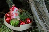 Retro Christmas baubles — Stock Photo