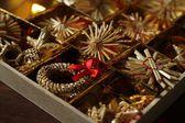 Christmas straw decorations — Stock Photo