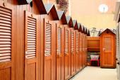 Wooden Beach Lockers — Stok fotoğraf