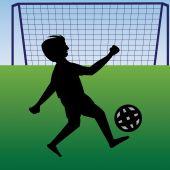 Teen practicing football near the goalpost — Stock Vector