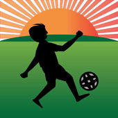 Boy playing football in playfield — Stock Vector