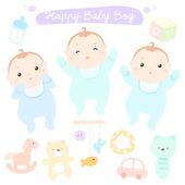 Happy new little cute baby boys vector — Stock Vector