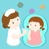 Nurse giving vaccination injection to little girl vector — Stock Vector