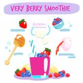 Very berry smoothie with banana vector  — Stock Vector