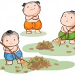 Three Thai kids sweep the leaves on the ground vector — Stock Vector #76820717