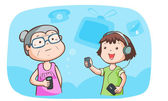 Kid talk to grandma talk about gadget vector — Stock Vector