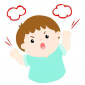Angry boy shout loudly on white background vector — Stock Vector