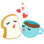Bread and coffee are lover breakfast vector — Stock Vector