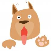 Frightened brown dog on white background vector — Stock Vector