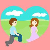 Człowiek o spacer loveland znaleźć kobietę wektor — Wektor stockowy
