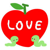 Worm in love with red apple vector — Stock Vector