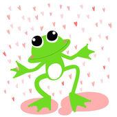 Green frog love rainy day vector — Stock Vector