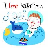 Happy kid love bath time vector illustration — Stock Vector