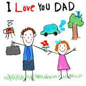 Papà di amore immagine vettoriale illustrazione — Vettoriale Stock