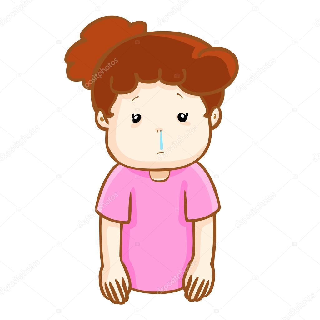 vecteur de dessin anim pour le nez qui coule femme malade image vectorielle 88981344. Black Bedroom Furniture Sets. Home Design Ideas