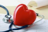 Red heart and a stethoscope. — Stock Photo