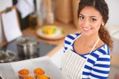 Woman is making cakes in the kitchen — Foto de Stock