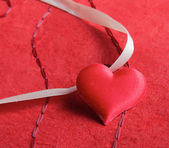 Heart , isolated on red background. — Stock Photo