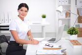 Portrait of a businesswoman sitting at  desk with  laptop — Stock Photo