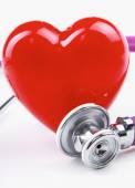 A heart with a stethoscope lying — Stock Photo