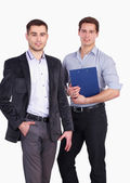 Young two men standing with folder, isolated on white background — Foto Stock