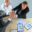 Business team with hands together - teamwork concepts — Stock Photo #74077741