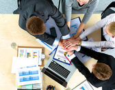 Business team with hands together - teamwork concepts — Stock Photo