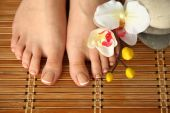 Care for beautiful woman legs with flower — Stock Photo