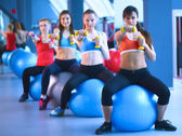 Group of people in a Pilates class at the gym — Stock Photo