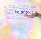 Please volunteer bokeh background — Stock Photo