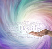 Count Your Blessings Word Cloud on Energy Vortex Background — Stock Photo