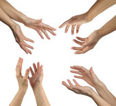 Healer's hands in four positions — Stock Photo