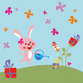 Funny bunny with a gift — Stock Vector