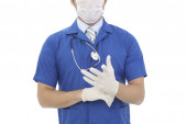 Medical doctor with clipboard — Stock Photo