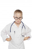 Cute little girl dressed like a doctor looking at camera — Stock Photo