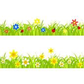 Narcisos na grama — Vetor de Stock