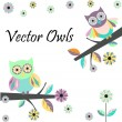 Two cute owls — Stock Vector #75216289