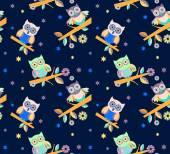 Owl vector seamless pattern.. — Stock Vector
