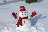 Amusing snowman in his red outfit — Stock Photo