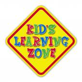 Yellow kid's learning zone road sign — Stock Photo
