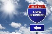 Interstate sign New Beginning — Stock Photo
