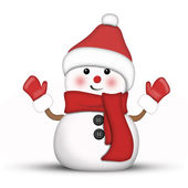 Illustration of an amusing snowman dressed in red — Stock Photo