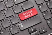 黑色键盘上的红色技术支持关键 — 图库照片