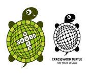 Crossword turtle set — Stock Vector