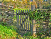 Wicker fence of wooden twigs and gate — Stok fotoğraf
