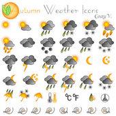 Autumn weather icons — Stock Vector